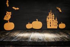 Lege rustieke lijst voor Halloween-vakantieachtergrond rea Royalty-vrije Stock Afbeeldingen