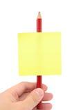 Lege schrijfpapierstok op een potlood Stock Foto's