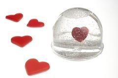 Lege sneeuwkoepel met hart Royalty-vrije Stock Foto's