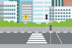 Lege stadsstraat met voetgangersoversteekplaats en verkeerslichten vector illustratie