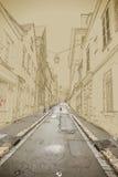Lege Straat in oude stad vector illustratie