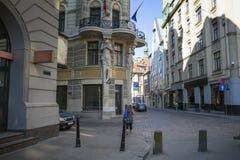 Lege straten van de oude stad van Riga stock fotografie