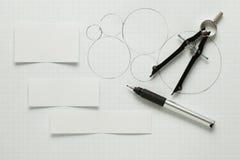 Lege stukken van document met pen & kompas Royalty-vrije Stock Afbeelding