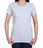 Lege t-shirt op vrouw Stock Afbeelding