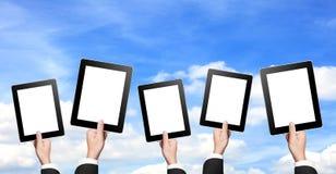 Lege tabletten met aardachtergrond Royalty-vrije Stock Fotografie