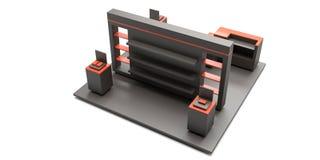 Lege tentoonstellingskiosk, met exemplaarruimte Origineel 3d teruggevend p Stock Foto's