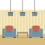 Lege Twee Banken met Plafondlampen Stock Foto's