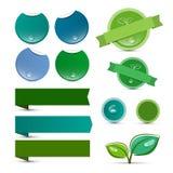 Lege Vector Natuurlijk Product Groene Etiketten Stock Foto