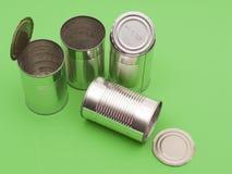 Lege voedselblikken klaar voor recycling Stock Fotografie