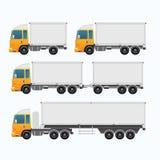 Lege Vrachtwagenaanhangwagen en minivrachtwagenreeks Stock Fotografie