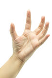 Lege vrouwelijke open die hand op wit wordt geïsoleerd Stock Afbeelding