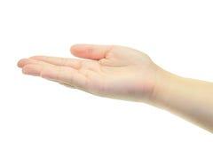 Lege vrouwelijke open die hand op wit wordt geïsoleerd Royalty-vrije Stock Foto