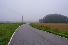 Lege weg in platteland stock foto's
