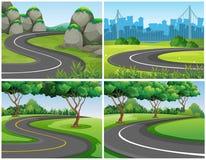 Lege wegen door park en stad stock illustratie