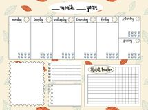 Lege wekelijkse ontwerper met waterspiegeldrijver, ruimte voor nota's, Stock Afbeelding