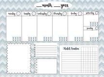 Lege wekelijkse ontwerper met waterspiegeldrijver, ruimte voor nota's, Stock Afbeeldingen