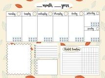 Lege wekelijkse ontwerper met waterspiegeldrijver, ruimte voor nota's, Royalty-vrije Stock Afbeeldingen