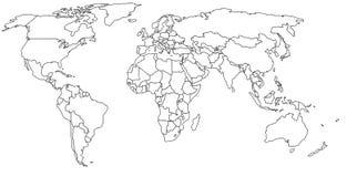 Lege wereldkaart Royalty-vrije Stock Afbeeldingen