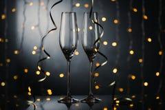 Lege wijnglazen Royalty-vrije Stock Foto's