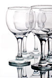 Lege wijnglazen met bezinning Royalty-vrije Stock Foto