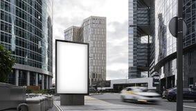 Lege witte banner met wolkenkrabbers op achtergrond het 3d teruggeven Stock Afbeelding
