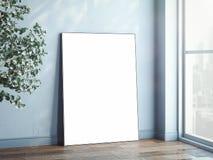 Lege witte banner naast groot venster en groene bomen, het 3d teruggeven Royalty-vrije Stock Foto