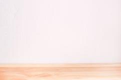 Lege witte Binnenlandse ruimte en houten vloer Royalty-vrije Stock Afbeeldingen