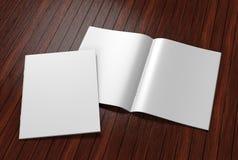 Lege witte catalogus, tijdschriften, boekspot op ontwerp op grijze achtergrond Stock Afbeeldingen
