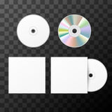 Lege witte CD van twee kanten en dekkingsmodelmalplaatje Stock Fotografie