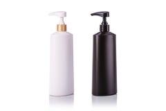 Lege witte en zwarte plastic die pompfles voor shampoo wordt gebruikt of zo Royalty-vrije Stock Afbeelding