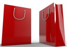 Lege Rode het winkelen zak Royalty-vrije Stock Foto's