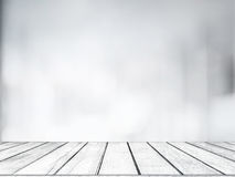 Lege witte houten lijst met vage opslag bokeh lichte achtergrond voor productvertoning Stock Fotografie