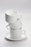 Lege witte koffiekoppen Royalty-vrije Stock Foto