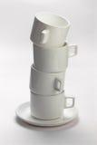 Lege witte koffiekoppen Royalty-vrije Stock Afbeeldingen