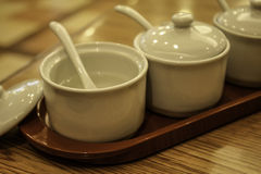 Lege witte kop van specerij stock afbeelding