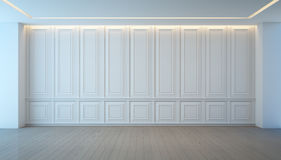 Lege witte muur en houten bevloeringsruimte, Uitstekend binnenlands ontwerp Stock Afbeelding