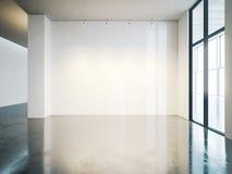 Lege witte muur in galerij met concrete vloer stock foto's