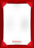 Lege witte pagina op een rode achtergrond Stock Foto's