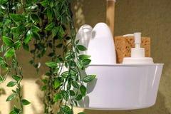 Lege witte plastic die pompfles voor shampoo of zeep wordt gebruikt Binnenlands ontwerp van de badkamers met het modelleren Stock Afbeeldingen