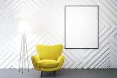 Lege witte ruimte, gele leunstoel, affiche Stock Afbeelding