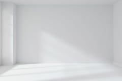 Lege witte ruimtemuur met hoekbinnenland Stock Fotografie