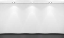 Lege witte ruimtemuur met verlichting 3d geef image Royalty-vrije Stock Fotografie