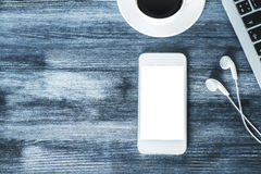 Lege witte smartphone stock fotografie