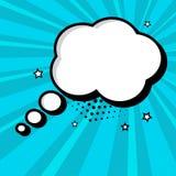 Lege witte toespraakbel voor uw tekst op blauwe achtergrond Grappige geluidseffecten in pop-artstijl Vector illustratie royalty-vrije illustratie