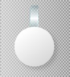 Lege witte wobbler hangt omhoog op muurspot, het 3d teruggeven Ruimte rond document model op plastic transparante strook ontruim vector illustratie