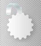 Lege witte wobbler hangt omhoog op muurspot, het 3d teruggeven Ruimte rond document model op plastic transparante strook ontruim stock illustratie