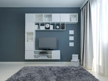 Lege woonkamer met kabinet en lcd TV royalty-vrije stock foto's