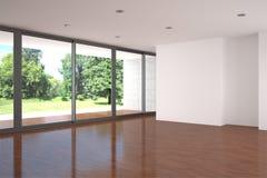 Lege woonkamer met parketvloer Royalty-vrije Stock Foto's