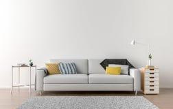 Lege woonkamer met witte muur op de achtergrond stock afbeelding