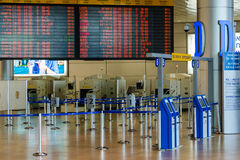 Lege zaal in Israëlische luchthaven Ben Gurion op Zaterdag (Shabbat) Stock Afbeeldingen